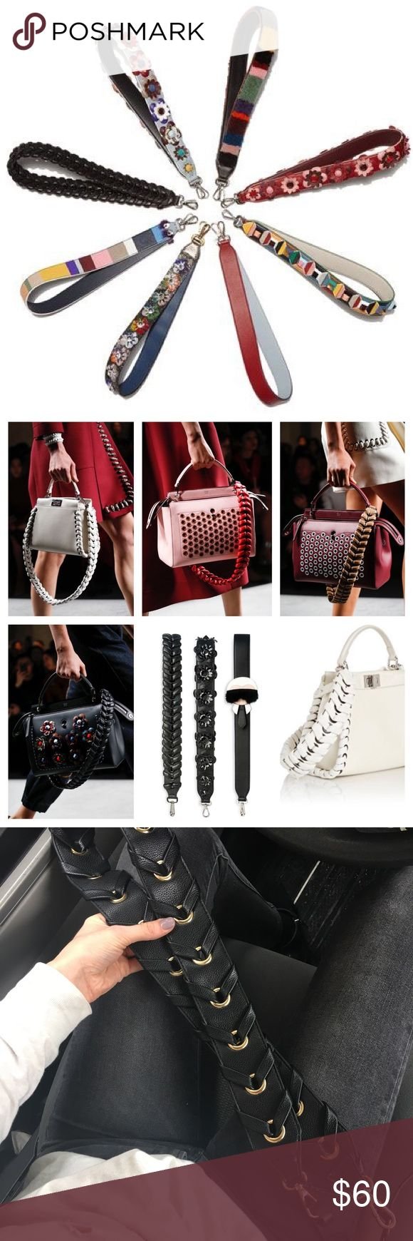 """Handbag Guitar Strap embellishment Mix & Match—personalize your bags. NWT - 30"""" black vegan leather strap with whipstitched detailing - gold hardware.  ****Please Note: these are not Fendi nor Fendi replicas—just inspired by the luxury designs of the runway. Fendi Accessories"""