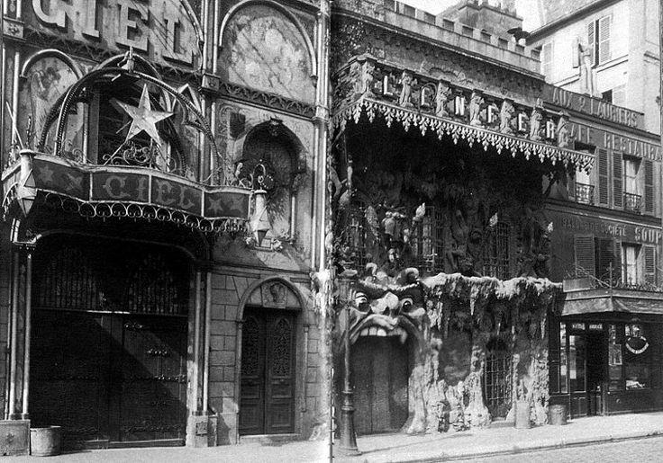"""Autre vue des cabarets """"Le Ciel"""" et """"L'Enfer"""", vers 1905. Paris"""