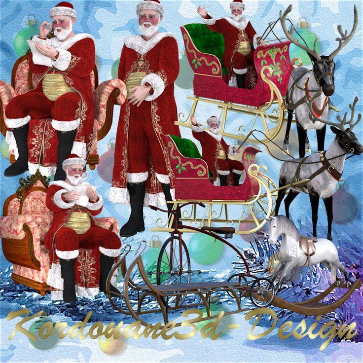 Père Noël et traîneau vintage