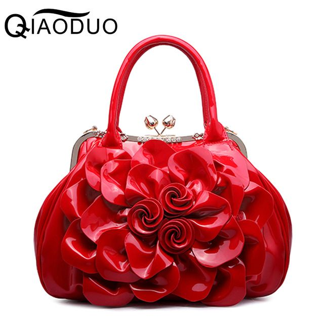 Low Price $42.84, Buy QIAODUO Floral Patent Leather Women Handbags Good Quality Luxury Women Bag Tote Bag Big Flower Casual Female Shoulder Bag A739/g
