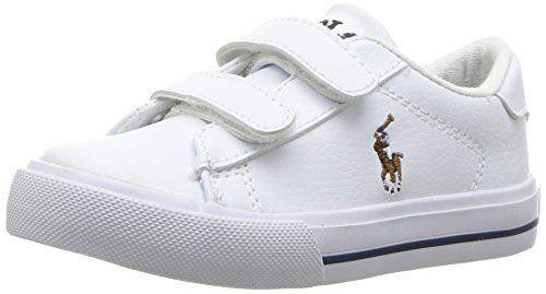 Polo Ralph Lauren Kids Baby Easton II EZ Sneaker, White Tumbled Multi Pop, 8 Medium US Toddler