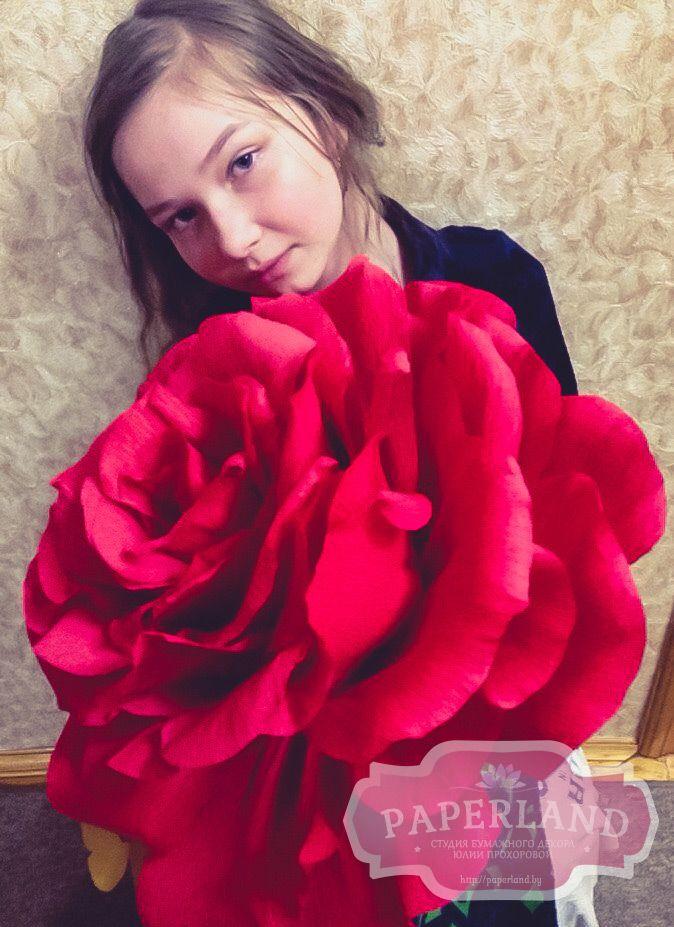 """Пышная роза из высококачественной гофрированной бумаги. Такой цветок приятно шокирует своего адресата и точно не завянет через несколько дней, как это случилось бы с """"живыми"""" цветами. Бутон розы крепится на длинныйстебель из металлопластика.  Роскошная бумажная роза - прекрасное украшение интерьера спальни или гостиной. Она великолепно смотрится на фотографиях, так что альбом обладателя розы обязательно пополнится десяткамиотличных снимков.Подойдет в качестве необычного подарка девушке…"""