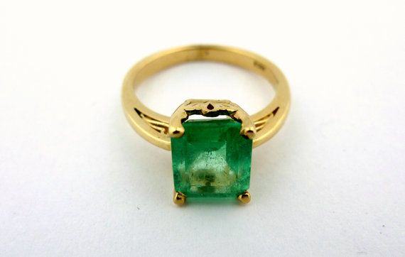 14K Yellow Gold and Emerald Ring - Emerald Cut 2.0ct Emerald Ladies Ring