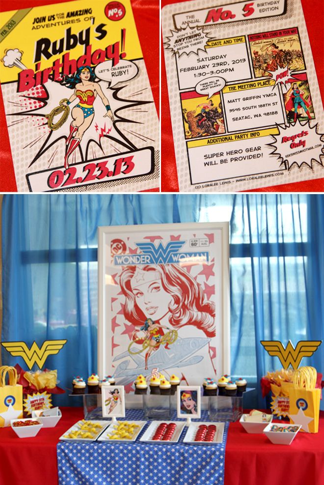 Wonder Woman Superhero Birthday Party! For 35? I know it's four years away but never too early to plan. Lol