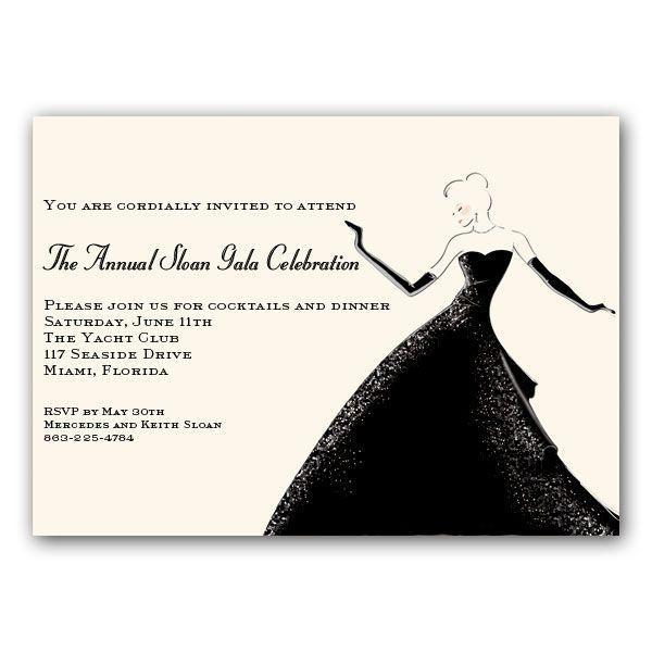 tres chic black tie affair invitations