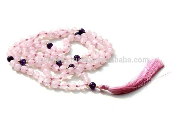 Rose Quartz, Amethyst 108 beads Tassel Japa Mala, Women Mala Beads Necklace