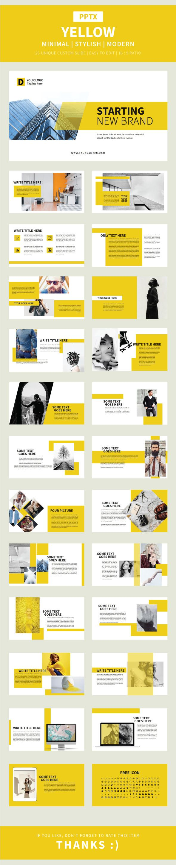 Yellow Pptx Template - Finance #PowerPoint #Templates Download here: https://graphicriver.net/item/yellow-pptx-template/20474702?ref=alena994