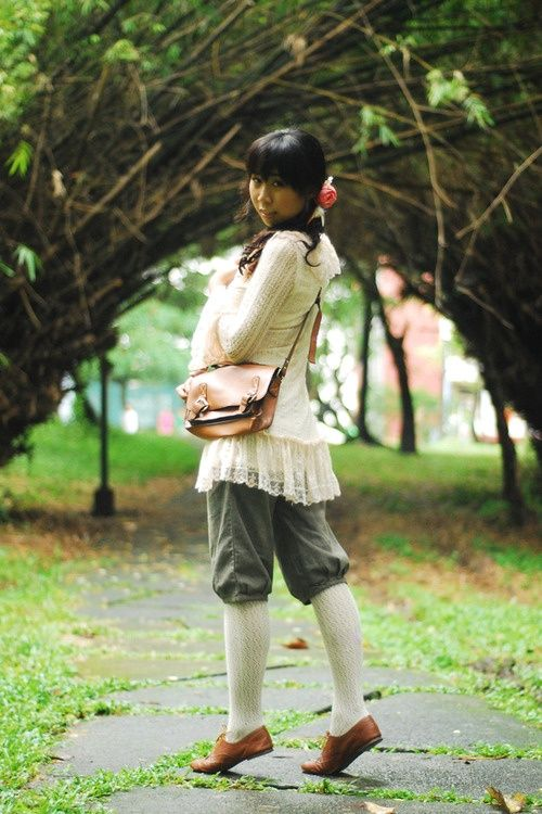 Cream lace top. Green velvet or pin cord knicker bockers or long shorts. Cream socks or tights. Brown brogues and satchel. Mori girl. Mori kei. Natural kei.