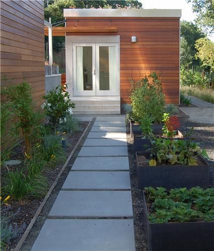 Clint's backyard office inspiration- love the path and landscaping