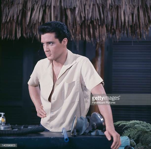 "Hawaiian Beach Boy Chad Gates - Elvis Presley on the set of his eighth movie ""Blue Hawaii"" (original working title: 'Hawaiian Beach Boy', Paramount Pictures) 