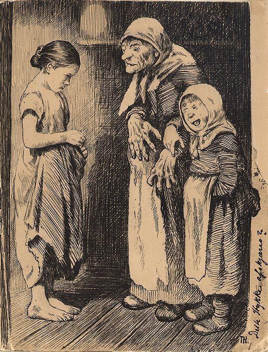 """Theodor Kittelsen, Illustrasjon til """"Manddatteren og Kjærringdatteren"""" i P. Chr. Asbjörnsen og J. Moe, Eventyrbog for Børn. Norske Folkeeventyr, København 1883. (1883)"""