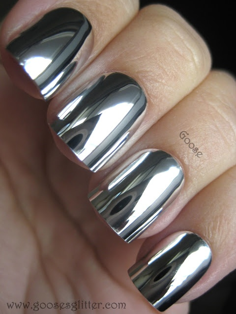 Chrome nails - these are fake nails, not a nail polish, but still a striking look.