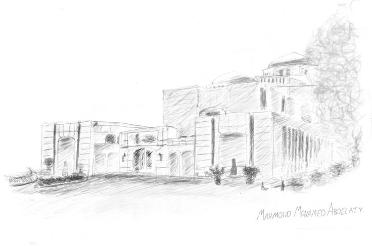 opera house digital sketching on photoshop