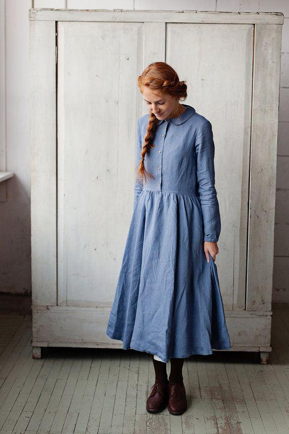Bleke blauwe Prairie jurk bescheiden jurk linnen door SondeflorShop