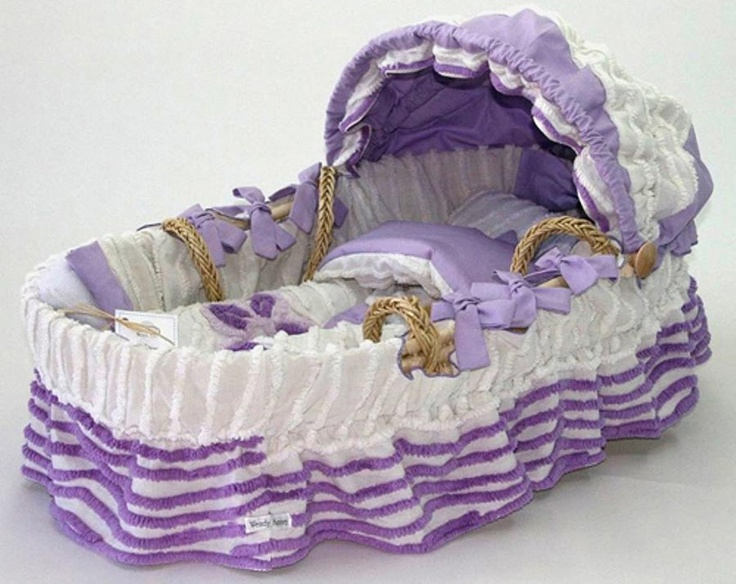 purple and white chenille Moses basket
