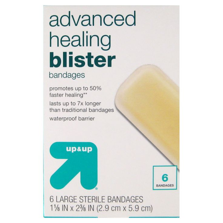 This new generation of up & up™ blister bandages wound care protection seals out water and contaminants. For use on minor cuts, scrapes and burns.<br>Tapered edge for conformability and comfort.<br>Dressing may be left in place for up to 7 days.<br>Waterproof barrier.<br>Specially formulated adhesive keeps dressing in place even when wet.<br>Creates moist wound environment that facilitates the healing process.<br>Not made with natural rubber la...