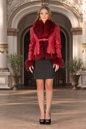 Complete your look in this 100% luxury jacket made of genuine leather and natural fur in daring shades of red. You may wear this luxury jacket with an evening dress or a casual one. This luxury jacket is a favourite style in a new & fabulous by Vero Milano!