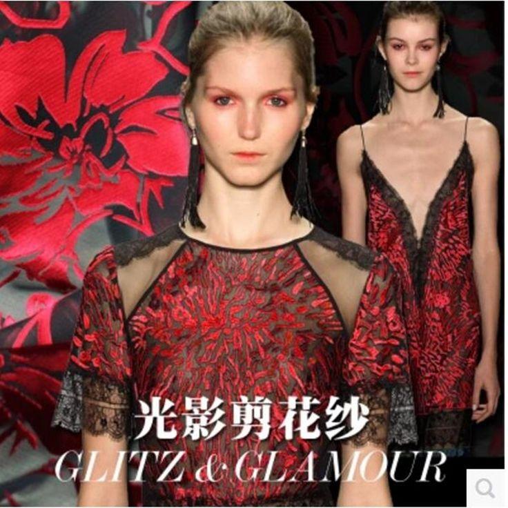 Burnt-out raw silk fabric dress Half skirt fabric