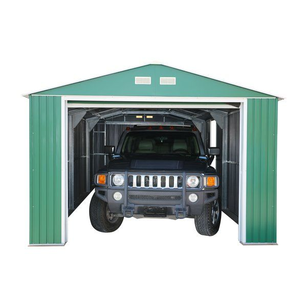 Imperial 12 Ft W X 20 Ft D Metal Garage Shed Building A Deck Garage Door Design Garage Shed
