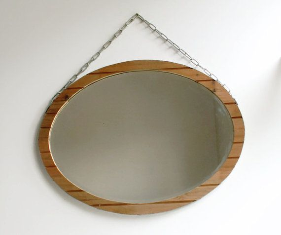 Industrial Wall Mirror Bevel Edge Oval by CraftyWorksCornwall