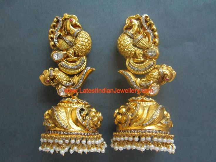 2 and 3 steps gold antique jhumkas indian - Google Search