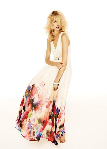 MANGO watercolor flower maxi-dress
