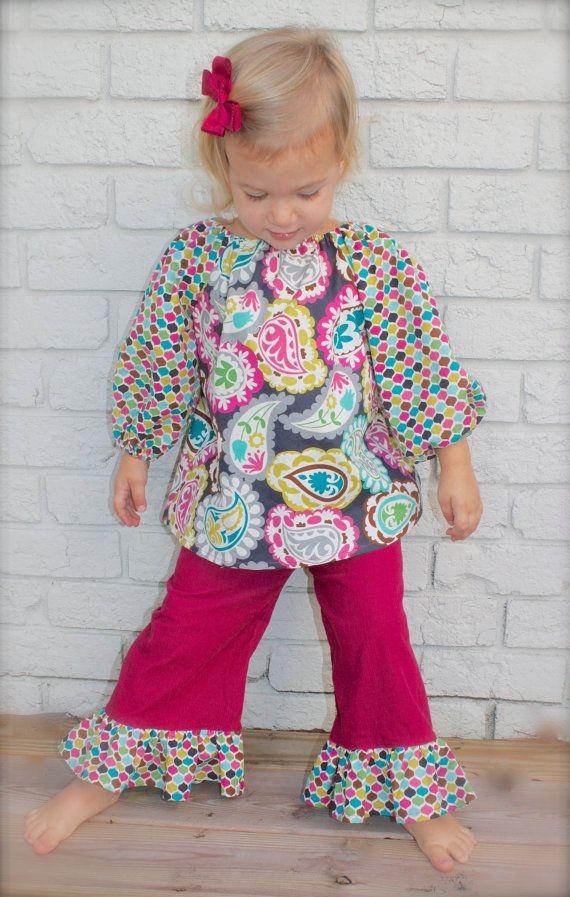 toddler girls PEASANT TOP ruffle PANT set sizes by wrententen, $50.00