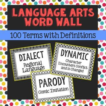 100 Language Arts Vocabulary, Literary Elements, and Figurative Language Word Wall Terms with Short Definitions. Terms included: satire, simile, symbol, syntax, theme, thesis, tone, transition, antonym, synonym, verb, active voice, passive voice, noun, interjection, preposition, article, subject, ethos, logos, deduction, poetry, rising action, falling action, resolution, consonance, monologue, dialogue, characterization, antagonist, protagonist, foil, stereotype, flat character, round…