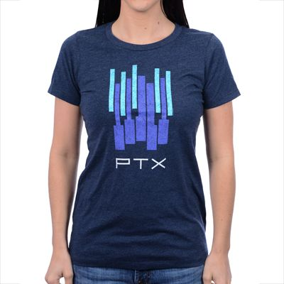 "Pentatonix ""Piano"" design printed on a women's heather navy Next Level Apparel t-shirt ptxofficial.com"