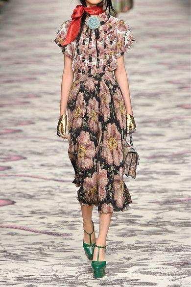 Gucci - Floral-print Pleated Silk Skirt - Black - IT48