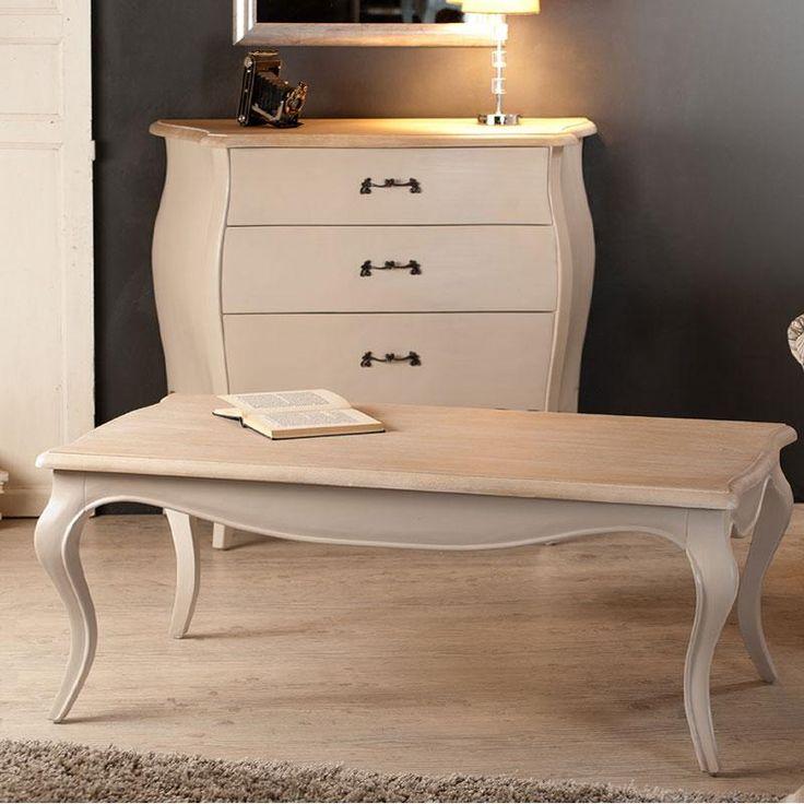 Table basse rectangulaire en bois coloris argile OLIVIA - Maison ...