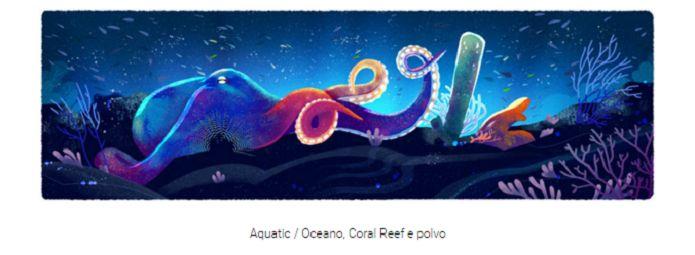 Recifes e polvos representaram o bioma marinho no doodle do Dia da Terra 2016 (Reprodução/Carol Danelli)http://www.techtudo.com.br/noticias/noticia/2016/04/dia-da-terra.html