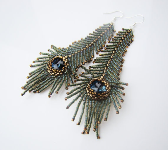 Long peacock feather earrings seed bead earrings by 7PMboutique, $35.00
