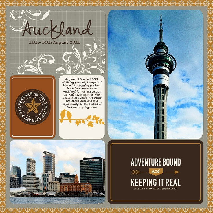 Using PL style cards on 12x12 layout. HARMONY DIY: Auckland Holiday - Project Life Style