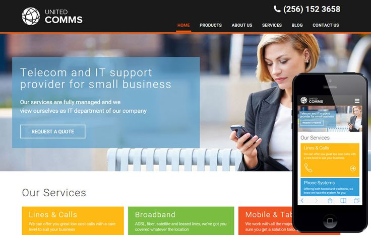 United Comms a #Corporate #Category #Flat #Bootstrap #Responsive ...
