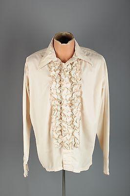 Vtg 60s 70s Men's L&M Fashions Ruffled Beige Tux Shirt sz L 5 #2992 Tuxedo 1970s