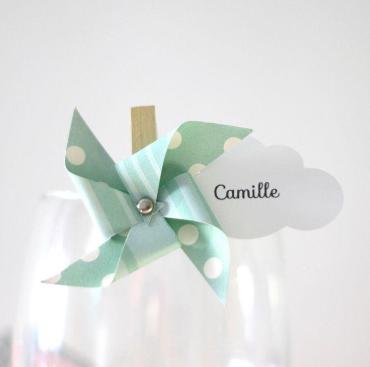 10 marque-places moulin à vent et nuage sur petite pince à linge, coloris vert d'eau : Autres papeterie par latelierdesconfettis