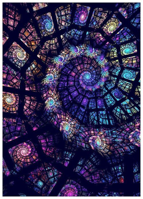stained glass spiral within a spiral fractal