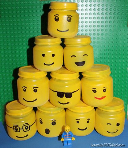 EXTRA STORAGE AND DECORATION LEGO MINI FIGURE HEADS OUT OF BABY JARS