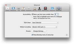 Advanced pane of the Safari preference window