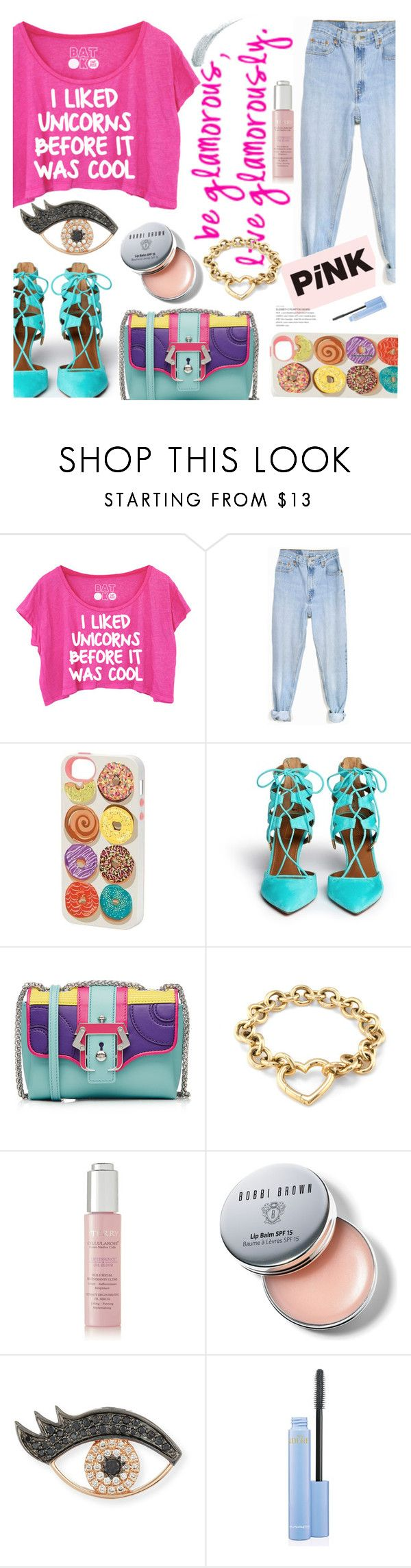 """Ready for NYFW"" by dorachelariu ❤ liked on Polyvore featuring Levi's, Paper Source, Aquazzura, Paula Cademartori, Tiffany & Co., By Terry, Bobbi Brown Cosmetics, Sydney Evan, Kevyn Aucoin and NYFW"