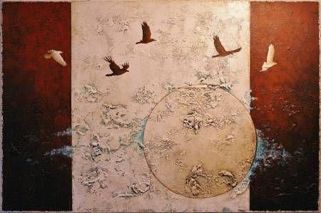 Oiseaux de nuit - Techniques mixtes sur toile - 61 x 91 cm (24 x 36 pouces)
