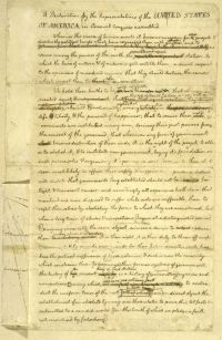 First page of Thomas Jefferson's rough draft of the Declaration of Independence. Having attended the College of William and Mary, Jefferson practiced law and served in local government as a magistrate, county lieutenant, and member of the House of Burgesses in his early professional life. As a member of the Continental Congress, he was chosen in 1776 to draft the Declaration of Independence, which has been regarded ever since as a charter of American and universal liberties. The document…