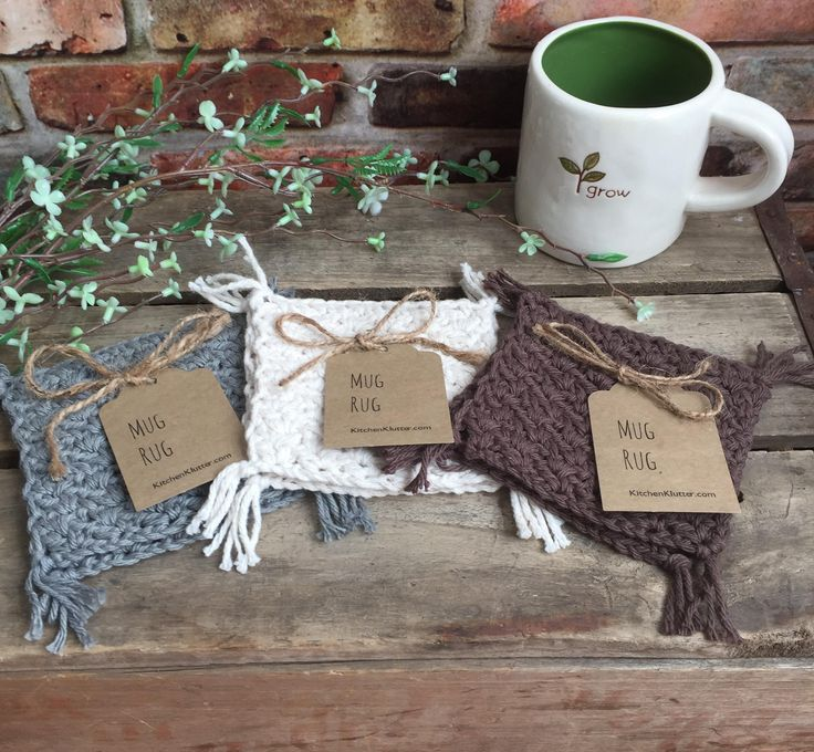 Mug Rug 100% Cotton Cup Coaster Handmade Crochet Set of 2 Rugs Mats Neutral Earthtone Colors Great Housewarming Gift by kitchenklutter on Etsy