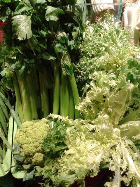 celery, escarole and broccoli