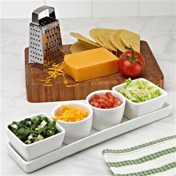Ksp Host Ceramic Mini Bowls W/Tray Set/5 10.2 X 8.4 X 39.6 Cm White   Kitchen Stuff Plus