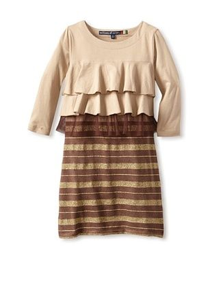71% OFF Millions Of Colors Girl's Striped Ruffle Dress (Tan)