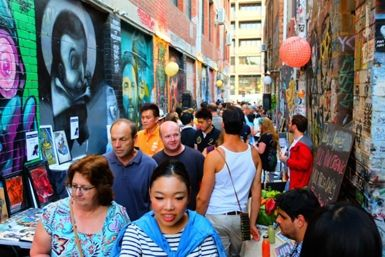 The Blender Lane Artists Market is a weekly market held every Wednesday night, located in one of Melbourne's most vibrant street art-covered laneways.