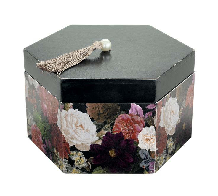 Store trinkets, jewellery and keepsakes in this pretty hexagonal storage box decorated with dark blooms. Priced £8