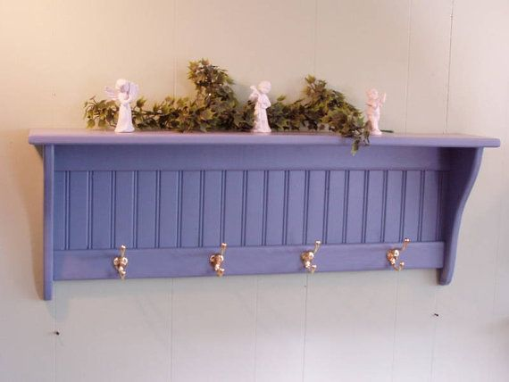 Country Blue Coat Rack Wall Shelf with by appletreewoodcrafts